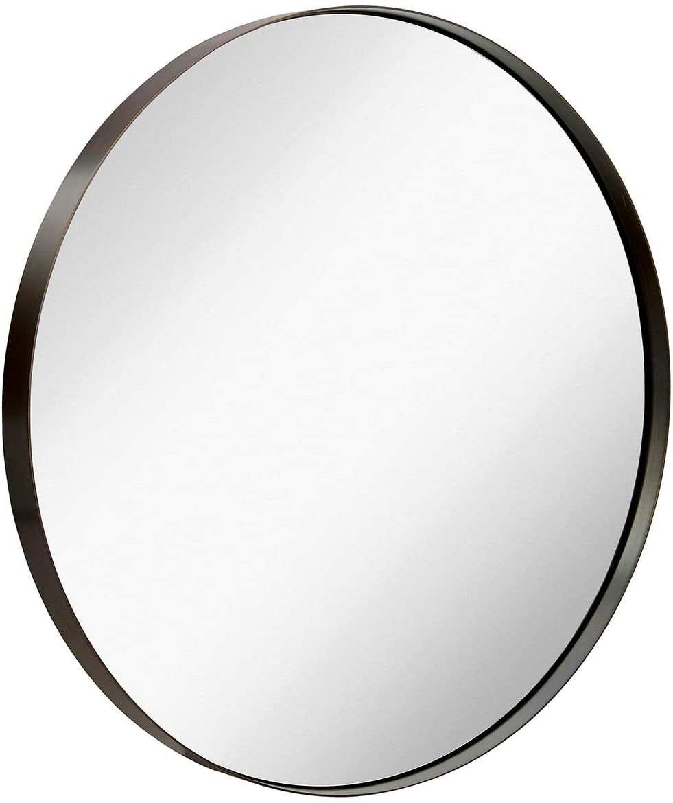 """Hamilton Hills Contemporary Brushed Metal Bronze Wall Mirror 