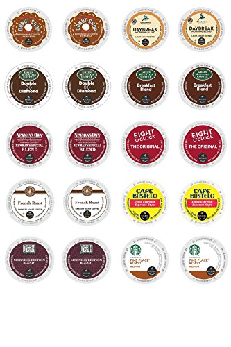 Green Mountain, Starbuck's, Newman's Own & Other Top Brand Coffee K-cup Sampler Pack for Keurig 2.0 - 20 Count/10 Varieties