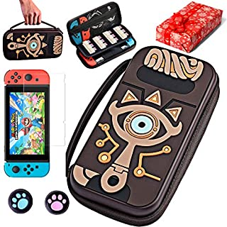 Carrying Case for Nintendo Switch,Switch Zelda Carrying Case,Sheikah Slate Silicone Embossed Case with Screen Protector and 2 Thumb Grip,for Nintendo Switch & Joy-con & Cable and More Accessories