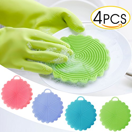Cleaning Dishwashing Silicon, KKtick Silicone Sponges for Kitchen Wash 4 Pack, Antibacterial Mildew-Free Brushes