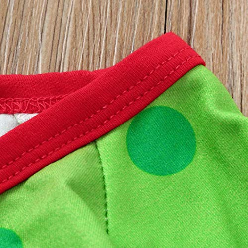 0-24 Months Christmas Party Newborn Baby Boys Girls Romper Set Cotton Dinosaur Dot Jumpsuit Pants Hat Outfits (Green, 0-6 Months) by Aritone (Image #4)