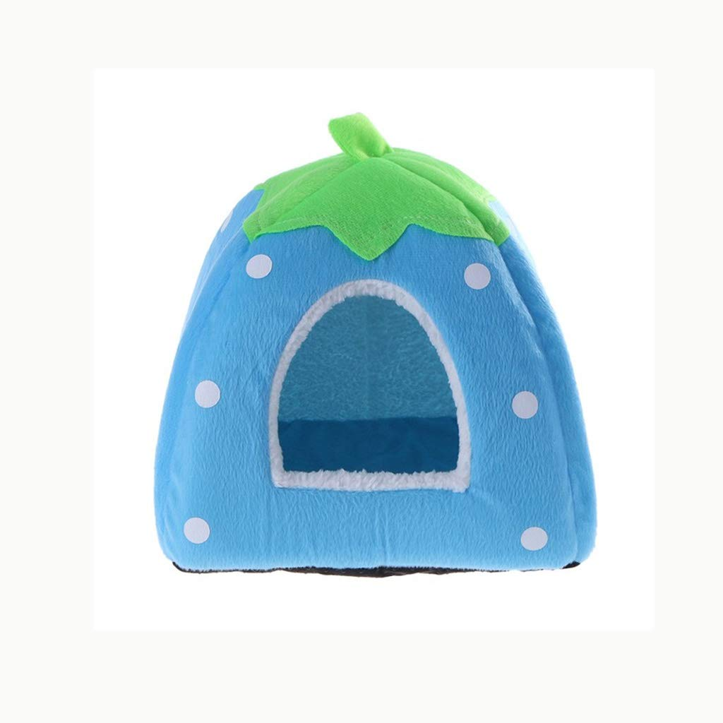 bluee L bluee L Cat House Foldable Leopard Strawberry Dog Bed Animal Cave Puppy Kennel Soft Pet Cat Dog House S M L XL XXL (color   bluee, Size   L)