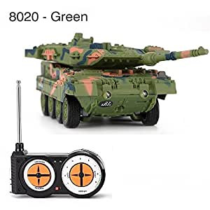 RuiFengShun 8020 Remote Control Battle Tank 4CH Mini Military Fighting Model RC Toy, Green