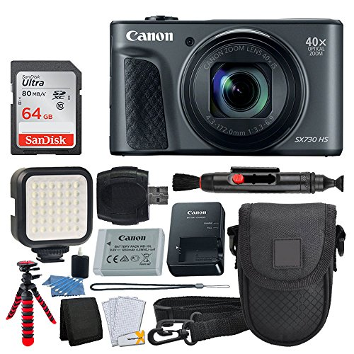 Canon PowerShot SX730 HS Digital Camera (Black) + 64GB Memory Card + Point & Shoot Case + Flexible Tripod + LED Video Light + USB Card Reader + Lens Cleaning Pen + Cleaning Kit + Full Accessory Bundle by PHOTO4LESS