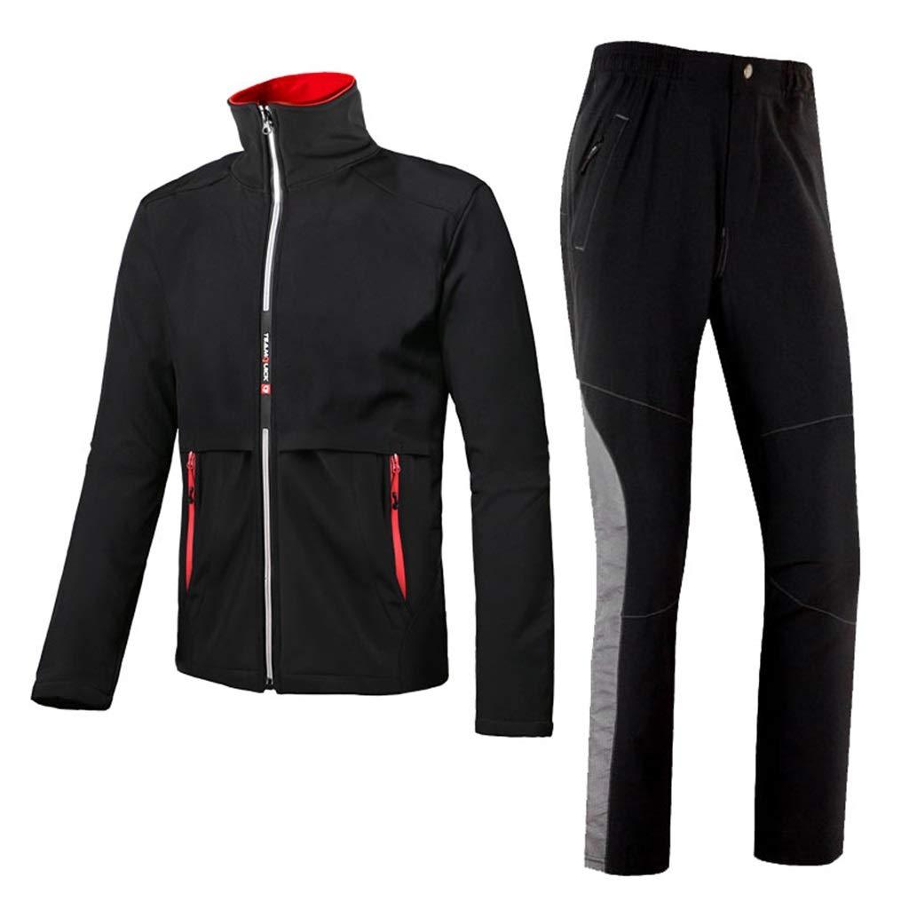 Reusable Rain Suit Windproof Unisex Warm Rainwear Raincoat Waterproof Thickened for Hiking/Mountaineering (Jacket and Trousers Set)