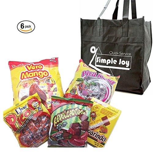 Mexican Best Candy Assortment - Vero Mango Chili Lollipops, Pica Fresa, Jovy Revolcadtas, Pulparindo Dulce De Tamarindo and Pico Mediano The Original Orange Flavor