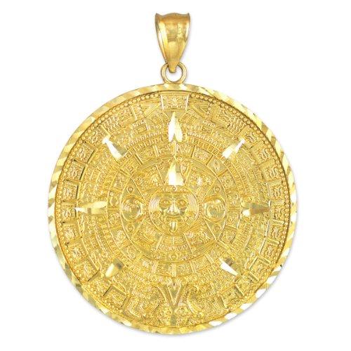 Calendar Yellow Bracelet - 14k Yellow Gold Aztec Charm Mayan Calendar Pendant (40.64 Millimeters)
