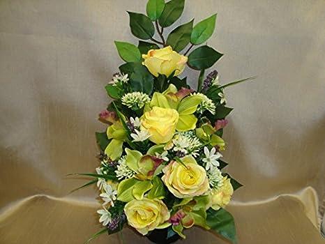 Fiore artificiale grave vaso vaso da cimitero memorial giallo rose e
