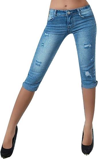 Shaoyao Jeans Skinny Mujer Vaqueros Rotos Pantalones Cortos Elasticos Jean Denim Amazon Es Ropa Y Accesorios