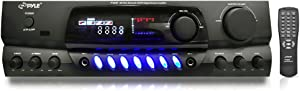200W Digital Bluetooth AM/FM Receiver - Power Amplifier Stereo Receiver w/ Radio Tuner, RCA, AUX for iPod, MP3, CD DVD Player, 2 MIC Input w/ Echo for Karaoke, Home Audio Entertainment - Pyle PT265BT