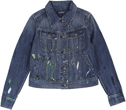 Lauren Ralph Lauren Womens Denim Long Sleeves Denim Jacket Blue (Lauren Flap Pocket Jeans)