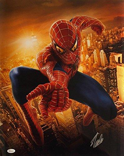 Stan Lee Marvel Comics Autographed 16x20 Spiderman Metallic Photo JSA - Certified Authentic