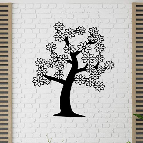 - Raxeria Family Tree Wall Art Japanese Cherry Blossom Metal Decor for Home and Office Decoration, Livingroom&Bedroom Wall Decal, Metal Sign, 3D View Sculpture, Black, (21