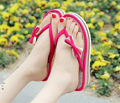 NEWZCERS Sandalias de la playa del verano de las mujeres, deslizadores de la palabra del tirón del arco Rosa roja