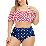 Jushye Plus Size Bikinis Sets, Womens Two Pieces Swimwear Printed Bathing Ruffle Swimsuit Beachwear Bodysuits (Red, 2XL)