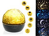 Night Light Projector Lamp IMISI Rotation LED Light with USB Cable Adjustable Brightness,Color and Theme Starry Sky, Sea World, Happy Birthday for Bedroom,Decoration (Black)