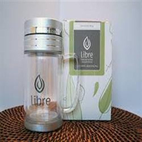 Libre 9.5 oz Thermal Double Walled Glass and Polycarbonate Mug with Stainless Steel Tea Filter