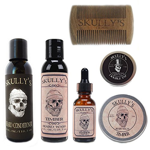 Skully's Ultimate Timber Beard Care Kit (Woodsy, Warm Amber Scent) – Beard Oil, Beard Balm, Beard Comb, Beard Conditioner, Mustache Wax for Men