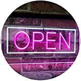 ADVPRO Open Shop Display Rectangle Dual Color LED Neon Sign White & Purple 16'' x 12'' st6s43-i2019-wp