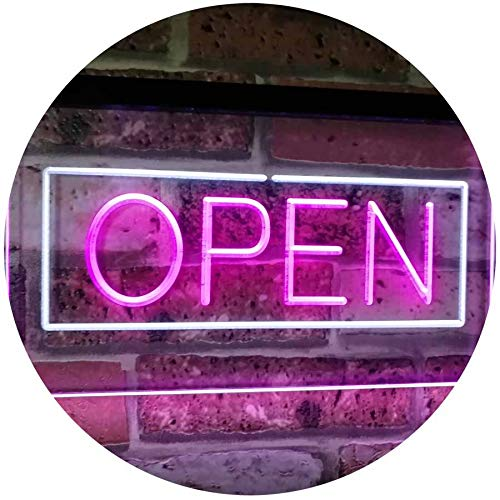 (ADVPRO Open Shop Display Rectangle Dual Color LED Neon Sign White & Purple 16