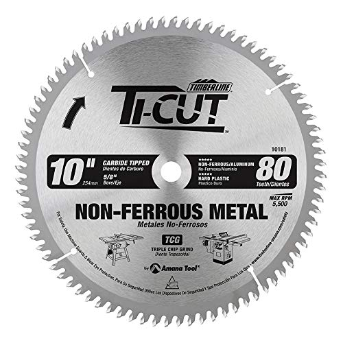 Timberline 10181 Ti-Cut and trade Aluminum and Non-Ferrous TC Grind Thin Kerf Carbide Tipped Saw Blade