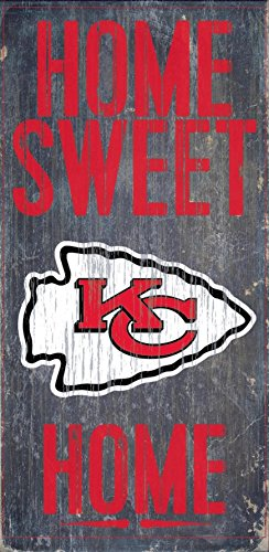 Kansas City Chiefs Official NFL 14.5 inch x 9.5 inch Wood Sign Home Sweet Home by Fan Creations - Kansas Outlet Mall City