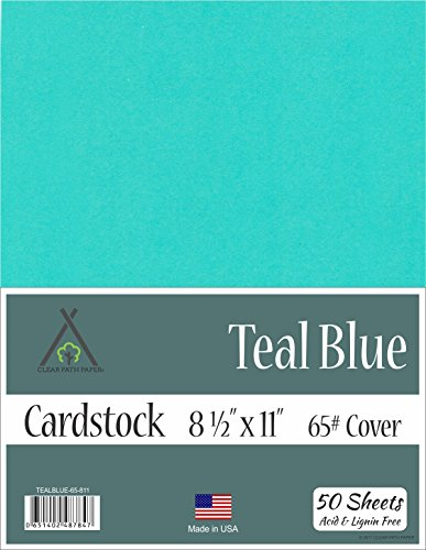 Teal Blue Cardstock - 8.5 x 11 inch - 65Lb Cover - 50 Sheets by Clear Path Paper