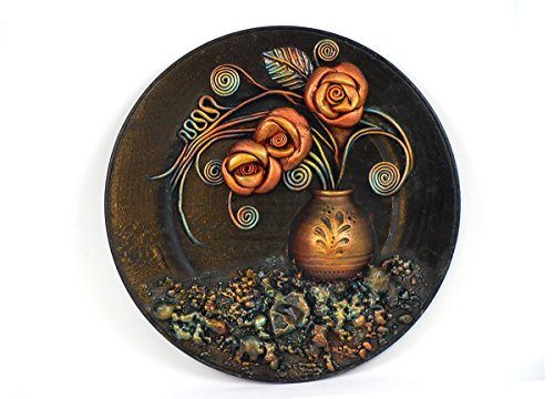 Wooden Plate, Hand Painted Leather Wall Art Decor, Hand Painted Ceramic Vase, Leather Roses, Leather Leaves, Unique Gift, 3D Wall Hanging