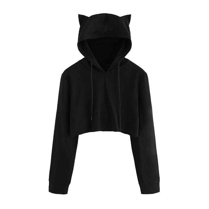 ASHOP Mujer Sudaderas con Capucha Camisetas y Tops Orejas de Gato Chaqueta con Capucha (Negro