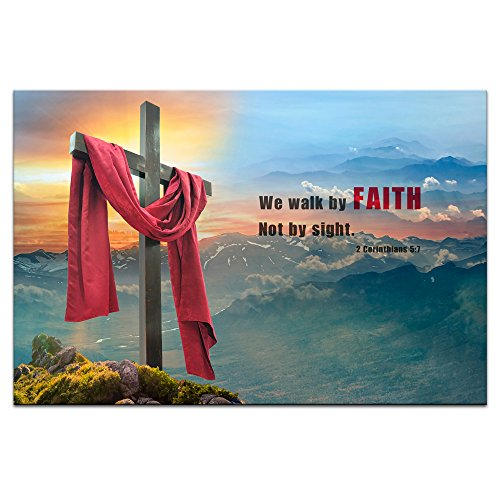 Visual Art Decor Premium Canvas Wall Art Decor Christian Cross Motivational Bible Quote Framed Canvas Prints Modern Inspirational Religion Home Office Decoration (Medium)