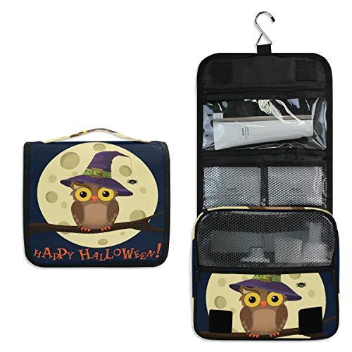 JOYPRINT Hanging Toiletry Bag Happy Halloween Owl Moon, Makeup Bag Cosmetic Bag Bathroom Travel Organizer Large for Women Girls -
