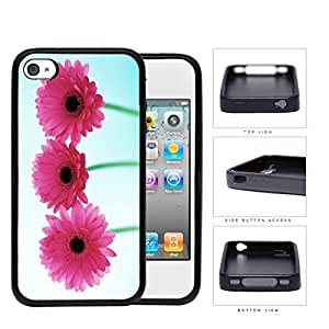 Pink Gerbera Daisy Flowers Rubber Silicone TPU Cell Phone Case Apple iPhone 4 4s