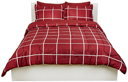 AmazonBasics 7-Piece Light-Weight Microfiber Bed-In-A-Bag Comforter Bedding Set - Full or Queen, Burgundy Simple Plaid