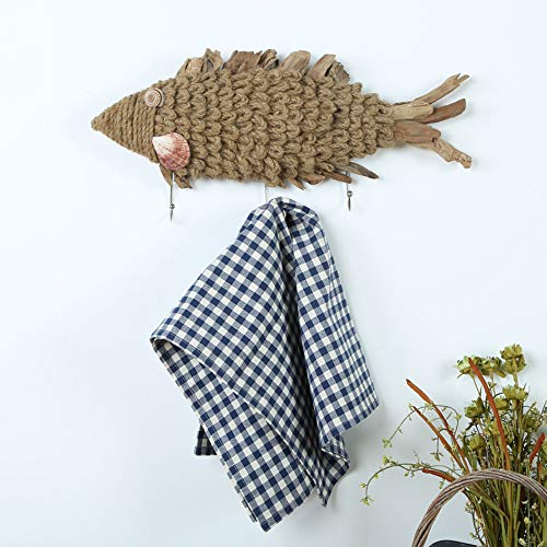 A-frame Style Handbag - Creative Solid Wood Coat Hook Towel Rack Key Hook Coat Hook Wall Hanging Rope Wooden Fish Jewelry Wooden Crafts Multifunctional