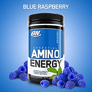 OPTIMUM NUTRITION ESSENTIAL AMINO ENERGY, Blue Raspberry, Preworkout and Essential Amino Acids with Green Tea and Green Coffee Extract, 30 Servings