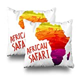 Soopat Decorativepillows Covers 18''x18'' set of 2, Two Sides Printed African Safari Concept Mainland Silhouette Filled Animals And Trees Throw Pillow Cases Home Decor