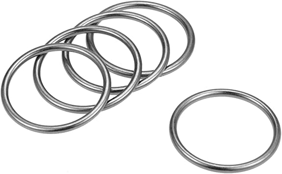 uxcell 10 Pcs O Ring Buckle OD 1.2-Inch Zinc Alloy O-Rings Black for Hardware Bags Belts Craft DIY Accessories