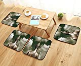 Leighhome Anti-Skid Chair Cushions Collection Sepia Tones Praying and Cloudy Bangkok Sky Photo Print Accessories Khaki Gold Health is Convenient W19.5 x L19.5/4PCS Set