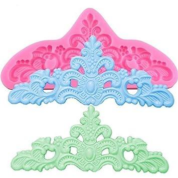 valink alfombrillas de cocción de alfombrilla de silicona en forma de corona de princesa de encaje