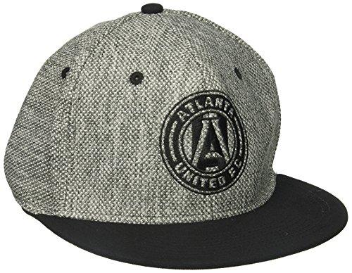 fan products of MLS Atlanta United FC Men's Heathered Gray Fabric Flat Visor Flex Hat, Large/X-Large, Gray