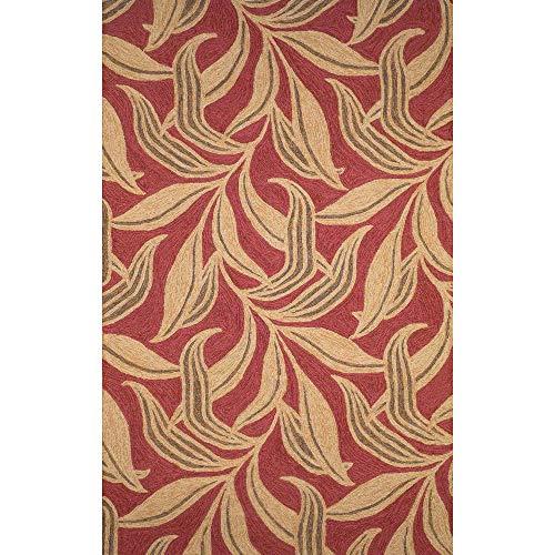 Liora Manne Ravella Leaf Rug, Indoor/Outdoor, 5-Feet by 7-Feet 6-Inch, Red