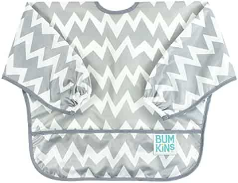Bumkins Waterproof Sleeved Bib, Gray Chevron (6-24 Months)