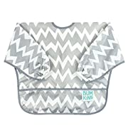 Bumkins Baby Toddler Bib, Waterproof Sleeved Bib, Gray Chevron (6-24 Months)