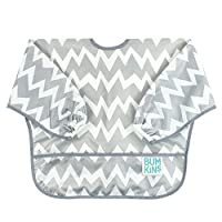 Bumkins Waterproof Sleeved Bib, Gray Chevron (6-24 Months)