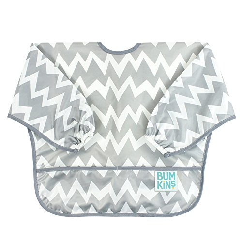 Bumkins Baby Toddler Bib, Waterproof Sleeved Bib, Gray Chevron (6-24 - Infant Bib Custom Baby