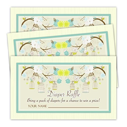 - Green and Yellow Diaper Raffle Tickets, Baby Shower Favor, Baby Shower Invitation Insert, Green Birdcage, Baby Shower Game (20 tickets)
