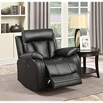 Superbe Meridian Furniture 645BL C Avery Plush Leather Chair Glider Recliner, Black