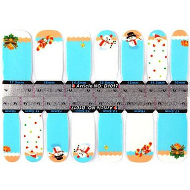 (QINF 2x14PCS 2-Pattern Cartoon Snowman and Butterfly Full-cover Nail Stickers)