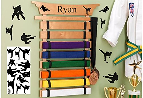 Personalized Martial Arts Belt Holder with Accent Decals