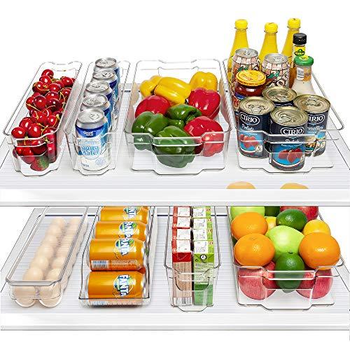 HOOJO Fridge Organizer Bins, Set of 8 Plastic Refrigerator Pantry Organizers for Freezer and Pantry, Kitchen Cabinets…